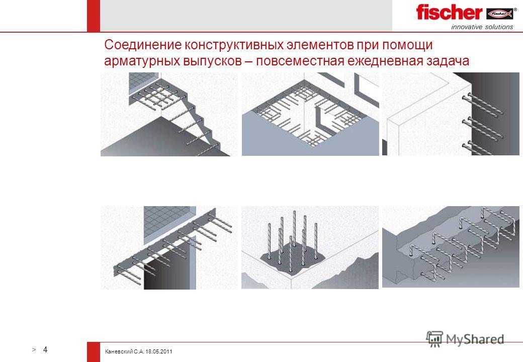 > 4 Каневский С.А. 18.05.2011 Соединение конструктивных элементов при помощи арматурных выпусков – повсеместная ежедневная задача
