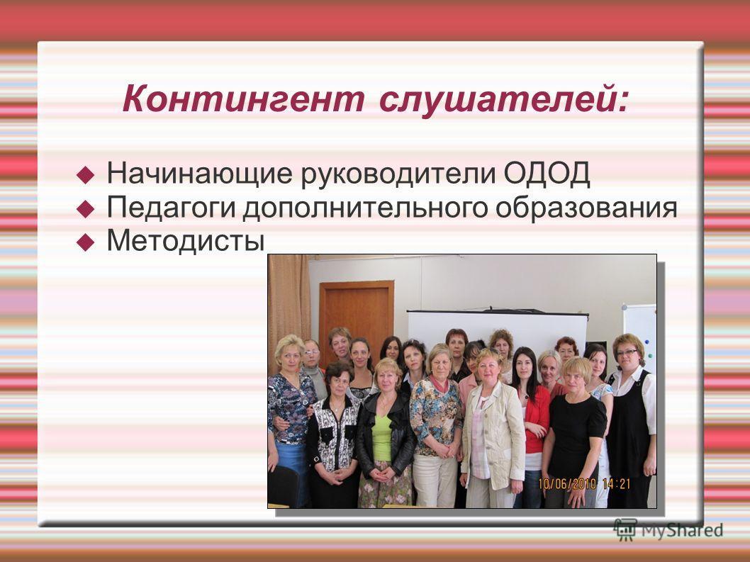 Контингент слушателей: Начинающие руководители ОДОД Педагоги дополнительного образования Методисты