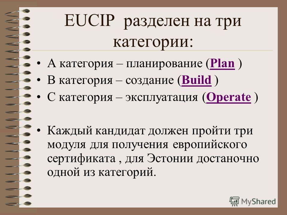 EUCIP разделен на три категории: А категория – планирование (Plan )Plan В категория – создание (Build )Build С категория – эксплуатация (Operate )Operate Каждый кандидат должен пройти три модуля для получения европийского сертификата, для Эстонии дос