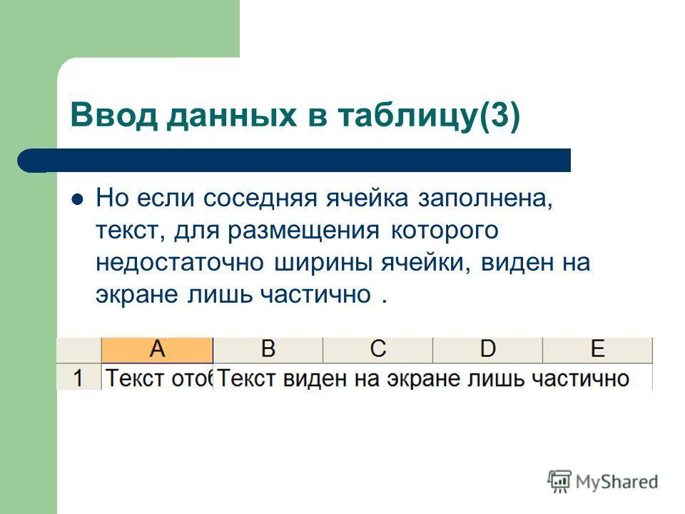 Ввод данных в таблицу(3) Но если соседняя ячейка заполнена, текст, для размещения которого недостаточно ширины ячейки, виден на экране лишь частично.