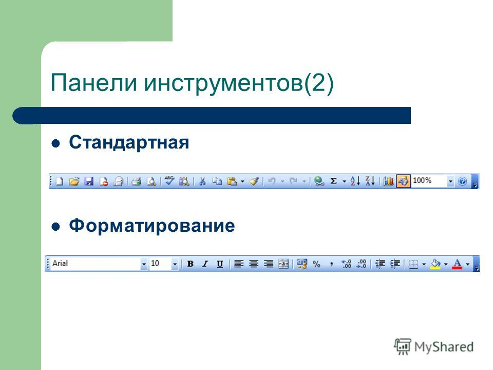 Панели инструментов(2) Стандартная Форматирование