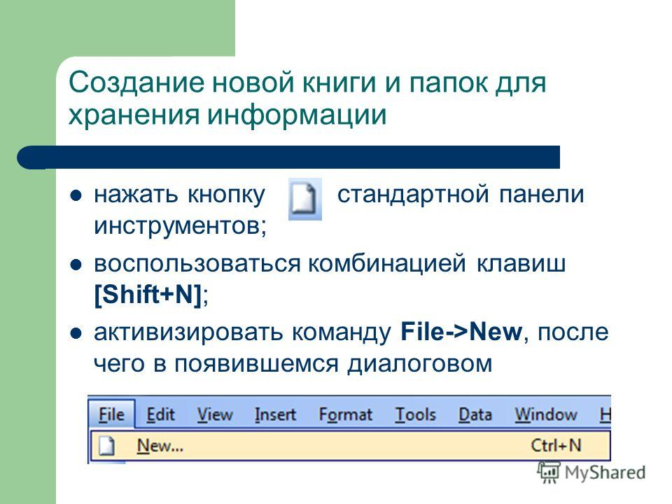 Создание новой книги и папок для хранения информации нажать кнопку стандартной панели инструментов; воспользоваться комбинацией клавиш [Shift+N]; активизировать команду File->New, после чего в появившемся диалоговом