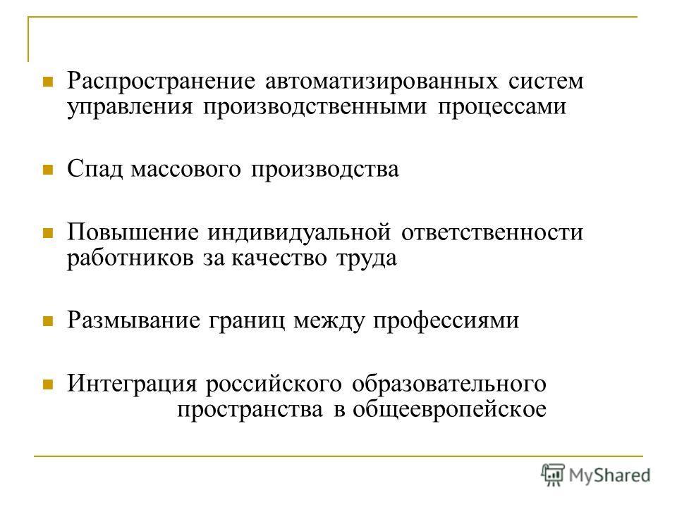 Распространение автоматизированных систем управления производственными процессами Спад массового производства Повышение индивидуальной ответственности работников за качество труда Размывание границ между профессиями Интеграция российского образовател