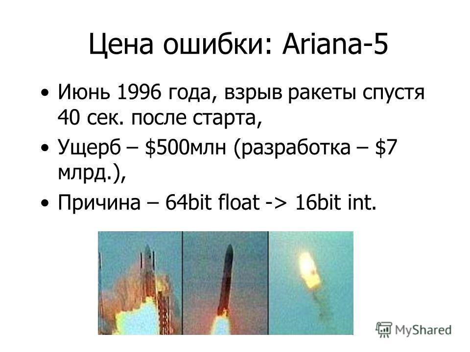 Цена ошибки: Ariana-5 Июнь 1996 года, взрыв ракеты спустя 40 сек. после старта, Ущерб – $500млн (разработка – $7 млрд.), Причина – 64bit float -> 16bit int.