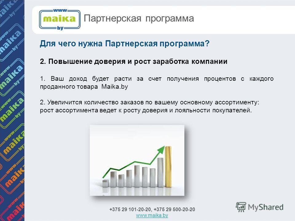 Для чего нужна Партнерская программа? +375 29 101-20-20, +375 29 500-20-20 www.maika.by Партнерская программа 2. Повышение доверия и рост заработка компании 1. Ваш доход будет расти за счет получения процентов с каждого проданного товара Maika.by 2.