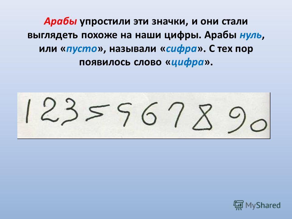 Арабы упростили эти значки, и они стали выглядеть похоже на наши цифры. Арабы нуль, или «пусто», называли «сифра». С тех пор появилось слово «цифра».