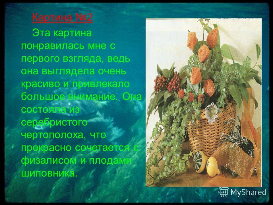 Картина 2 Эта картина понравилась мне с первого взгляда, ведь она выглядела очень красиво и привлекало большое внимание. Она состояла из серебристого чертополоха, что прекрасно сочетается с физалисом и плодами шиповника.