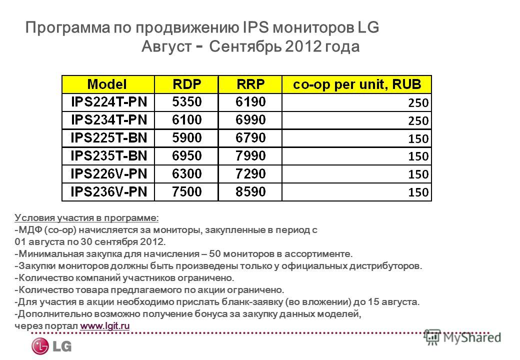 Программа по продвижению IPS мониторов LG Август - Сентябрь 2012 года Условия участия в программе: -МДФ (co-op) начисляется за мониторы, закупленные в период с 01 августа по 30 сентября 2012. -Минимальная закупка для начисления – 50 мониторов в ассор