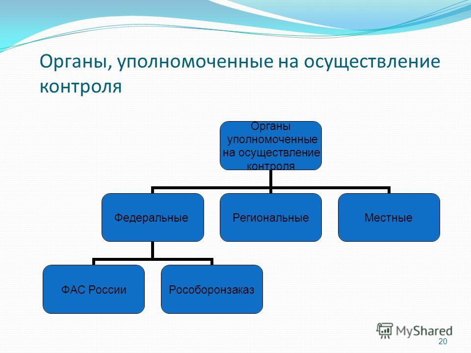 Органы, уполномоченные на осуществление контроля Органы уполномоченные на осуществление контроля Федеральные ФАС РоссииРособоронзаказ РегиональныеМестные 20