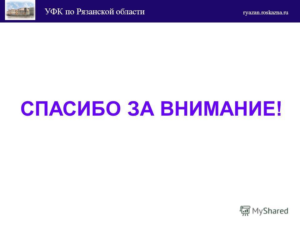 УФК по Рязанской области ryazan.roskazna.ru СПАСИБО ЗА ВНИМАНИЕ!