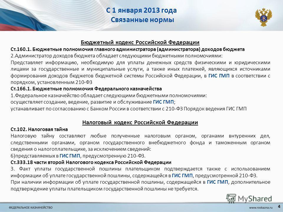 С 1 января 2013 года Связанные нормы Бюджетный кодекс Российской Федерации Ст.160.1. Бюджетные полномочия главного администратора (администратора) доходов бюджета 2.Администратор доходов бюджета обладает следующими бюджетными полномочиями: Представля