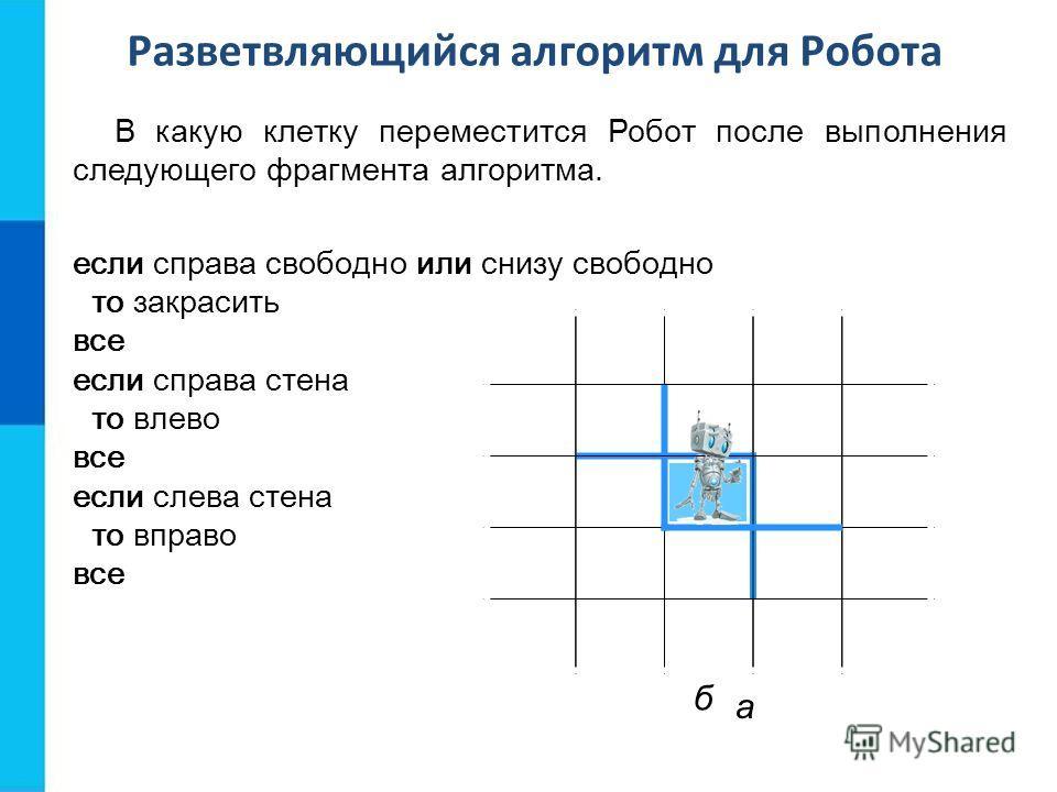 Разветвляющийся алгоритм для Робота В какую клетку переместится Робот после выполнения следующего фрагмента алгоритма. а если справа свободно или снизу свободно то закрасить все если справа стена то влево все б если слева стена то вправо все