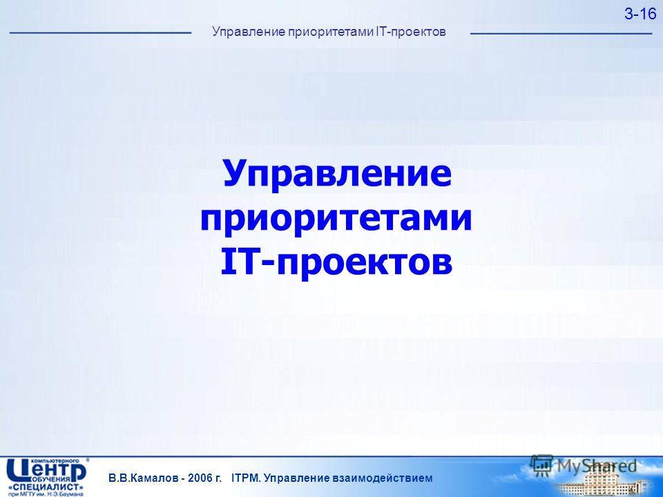 В.В.Камалов - 2006 г. ITPM. Управление взаимодействием 3-16 Управление приоритетами IT-проектов