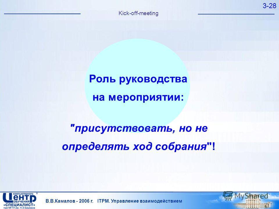 В.В.Камалов - 2006 г. ITPM. Управление взаимодействием 3-28 Kick-off-meeting Роль руководства на мероприятии: присутствовать, но не определять ход собрания!