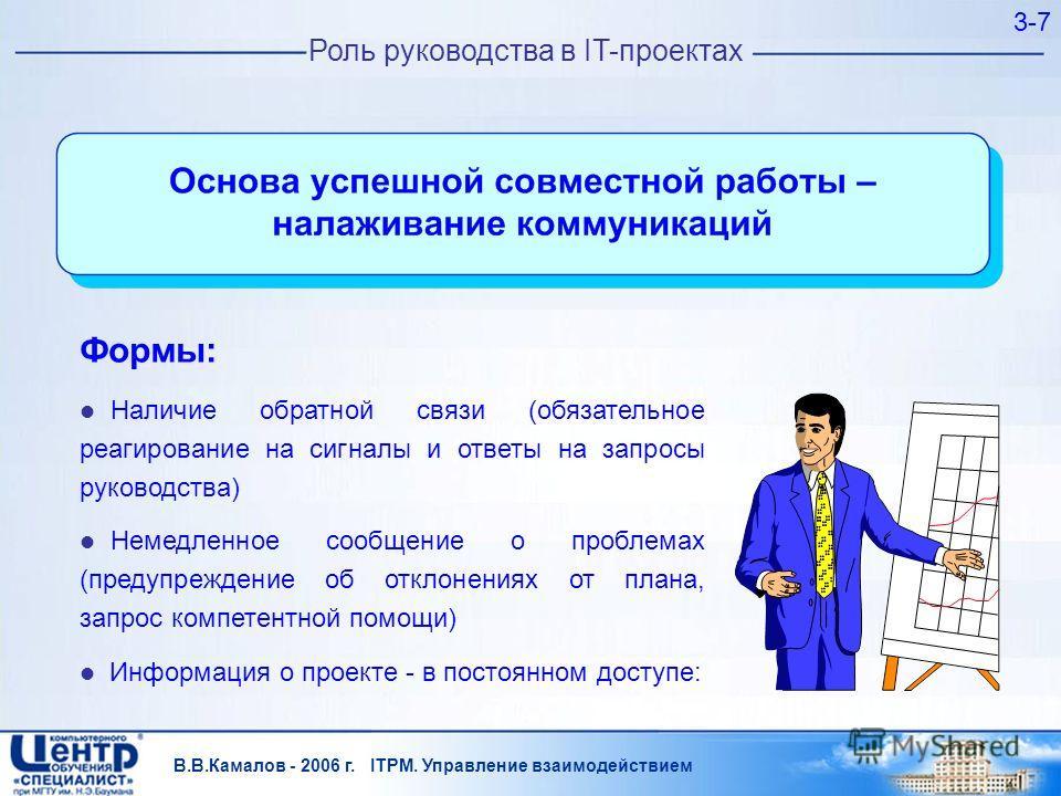 В.В.Камалов - 2006 г. ITPM. Управление взаимодействием 3-7 Роль руководства в IT-проектах Формы: Наличие обратной связи (обязательное реагирование на сигналы и ответы на запросы руководства) Немедленное сообщение о проблемах (предупреждение об отклон