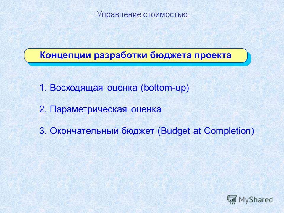 Управление стоимостью 1.Восходящая оценка (bottom-up) 2.Параметрическая оценка 3.Окончательный бюджет (Budget at Completion)