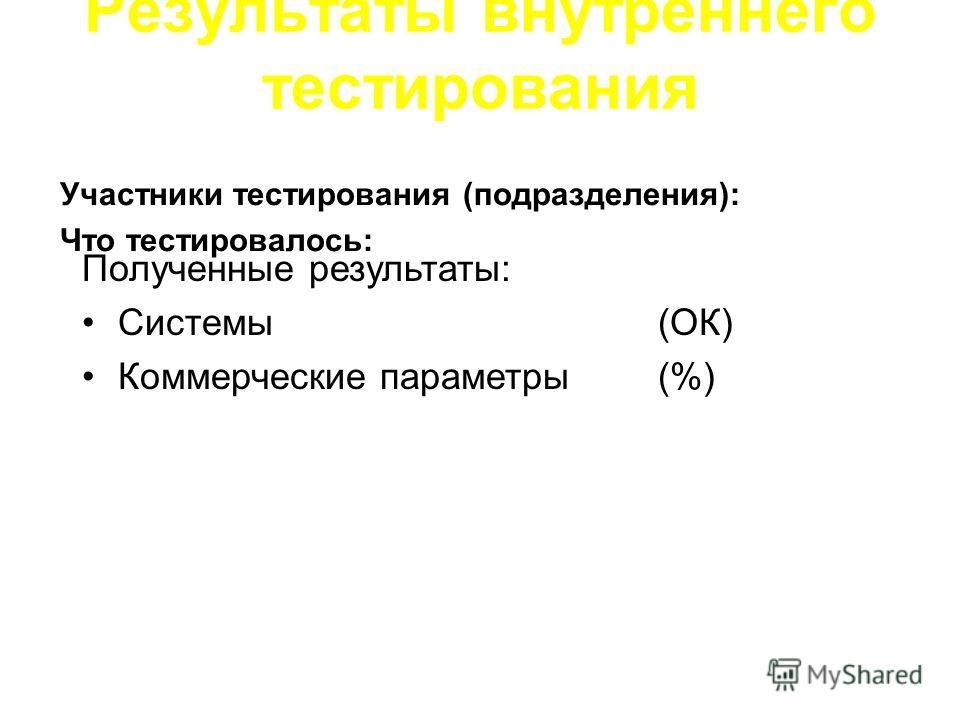 Участники тестирования (подразделения): Что тестировалось: Результаты внутреннего тестирования Полученные результаты: Системы(ОК) Коммерческие параметры (%)