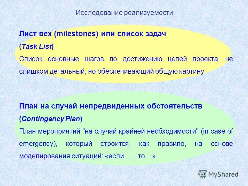 Исследование реализуемости Лист вех (milestones) или список задач (Task List) Список основные шагов по достижению целей проекта, не слишком детальный, но обеспечивающий общую картину План на случай непредвиденных обстоятельств (Contingency Plan) План