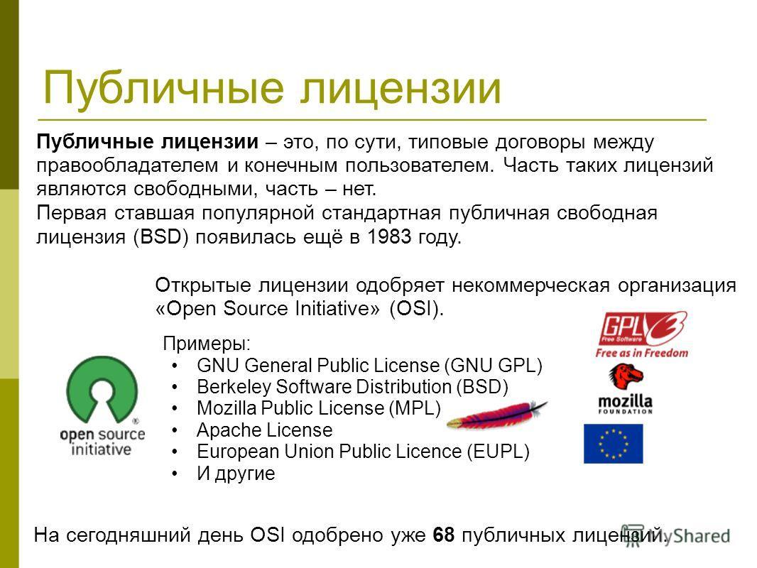 Публичные лицензии Примеры: GNU General Public License (GNU GPL) Berkeley Software Distribution (BSD) Mozilla Public License (MPL) Apache License European Union Public Licence (EUPL) И другие Открытые лицензии одобряет некоммерческая организация «Ope