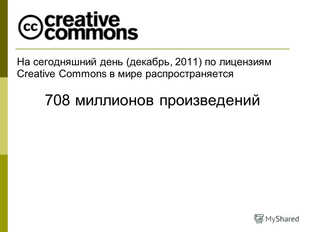 На сегодняшний день (декабрь, 2011) по лицензиям Creative Commons в мире распространяется 708 миллионов произведений