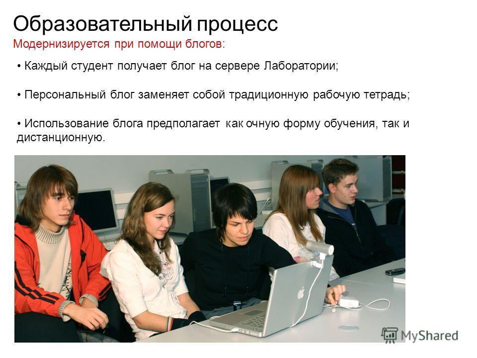Образовательный процесс Модернизируется при помощи блогов: Каждый студент получает блог на сервере Лаборатории; Персональный блог заменяет собой традиционную рабочую тетрадь; Использование блога предполагает как очную форму обучения, так и дистанцион