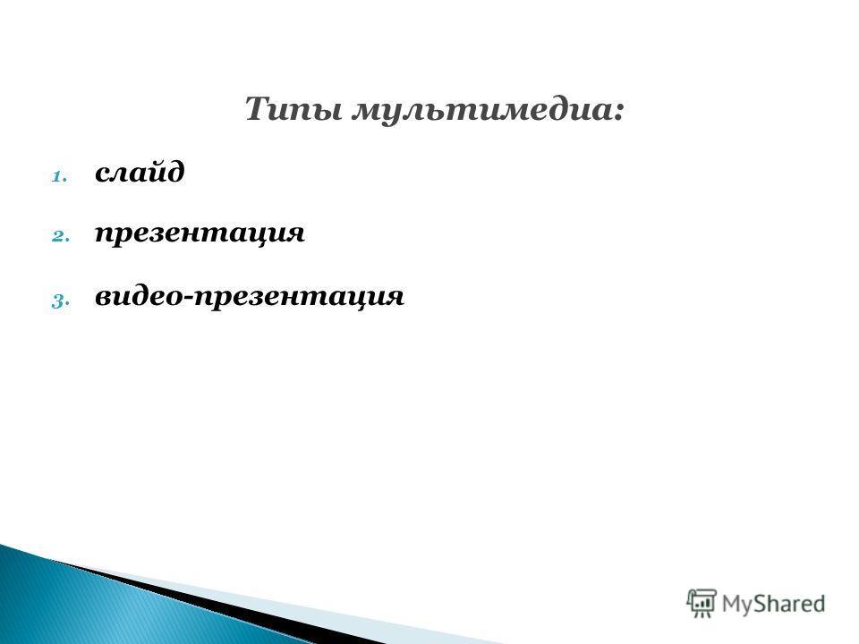 Типы мультимедиа: 1. слайд 2. презентация 3. видео-презентация