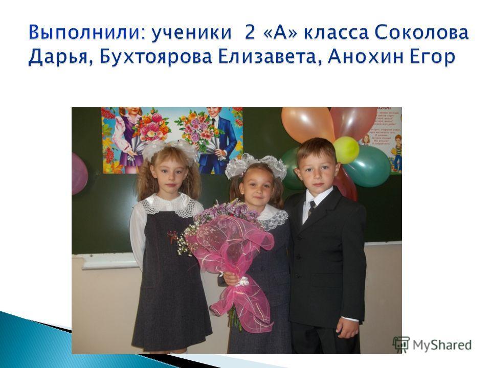 Выполнили: ученики 2 «А» класса Соколова Дарья, Бухтоярова Елизавета, Анохин Егор