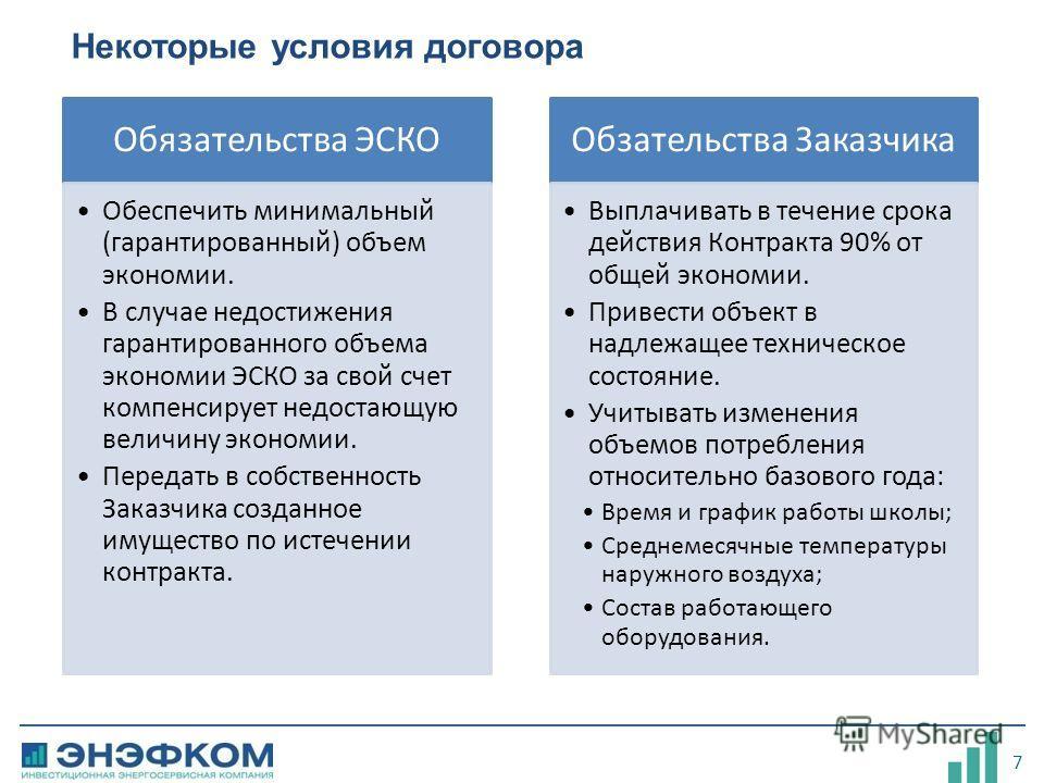 7 Некоторые условия договора Обязательства ЭСКО Обеспечить минимальный (гарантированный) объем экономии. В случае недостижения гарантированного объема экономии ЭСКО за свой счет компенсирует недостающую величину экономии. Передать в собственность Зак