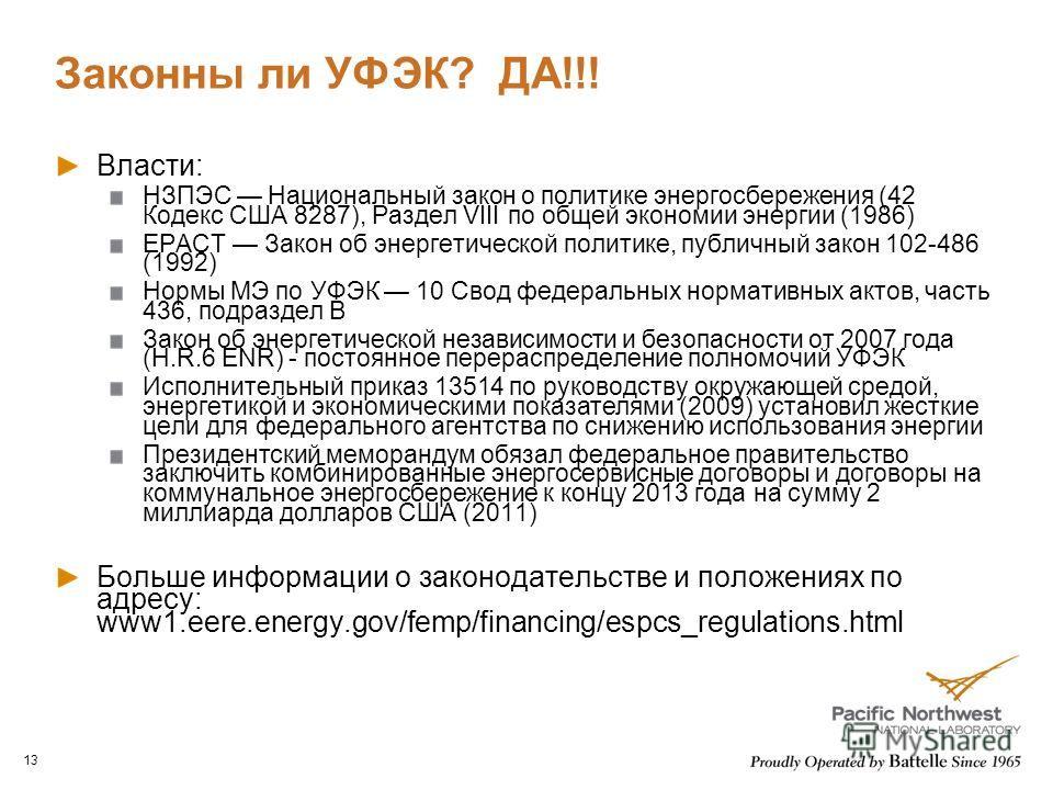 Законны ли УФЭК? ДА!!! Власти: НЗПЭС Национальный закон о политике энергосбережения (42 Кодекс США 8287), Раздел VIII по общей экономии энергии (1986) EPACT Закон об энергетической политике, публичный закон 102-486 (1992) Нормы МЭ по УФЭК 10 Свод фед