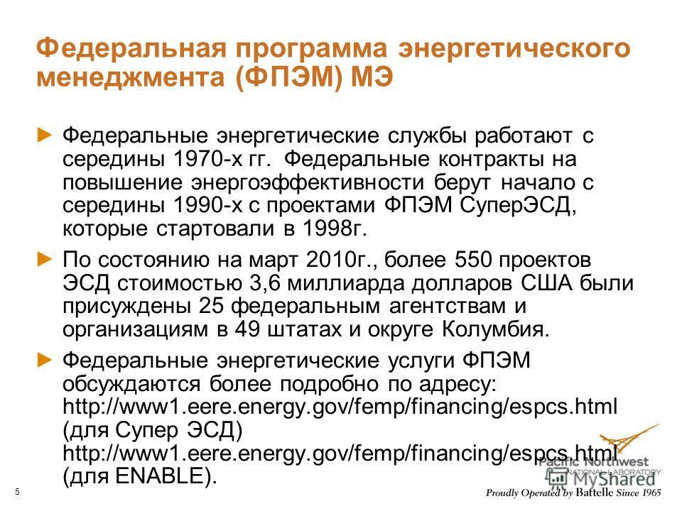 Федеральная программа энергетического менеджмента (ФПЭМ) МЭ Федеральные энергетические службы работают с середины 1970-х гг. Федеральные контракты на повышение энергоэффективности берут начало с середины 1990-х с проектами ФПЭМ СуперЭСД, которые стар
