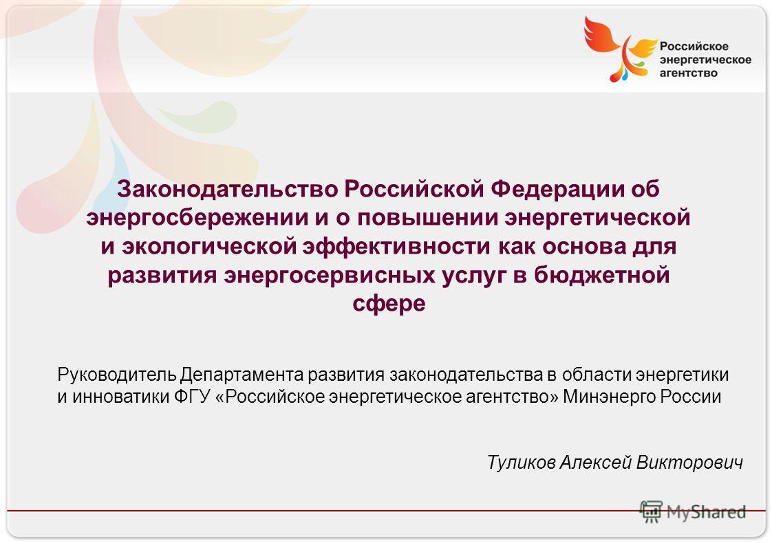Российское энергетическое агентство 13.08.10 Законодательство Российской Федерации об энергосбережении и о повышении энергетической и экологической эффективности как основа для развития энергосервисных услуг в бюджетной сфере Руководитель Департамент