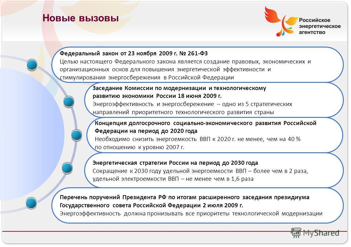 Российское энергетическое агентство Новые вызовы Федеральный закон от 23 ноября 2009 г. 261-ФЗ Целью настоящего Федерального закона является создание правовых, экономических и организационных основ для повышения энергетической эффективности и стимули