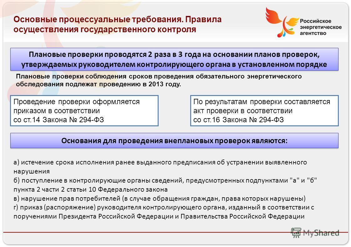 Российское энергетическое агентство 13.08.10 Основные процессуальные требования. Правила осуществления государственного контроля Плановые проверки проводятся 2 раза в 3 года на основании планов проверок, утверждаемых руководителем контролирующего орг