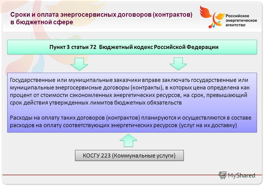 Российское энергетическое агентство Пункт 3 статьи 72 Бюджетный кодекс Российской Федерации Государственные или муниципальные заказчики вправе заключать государственные или муниципальные энергосервисные договоры (контракты), в которых цена определена