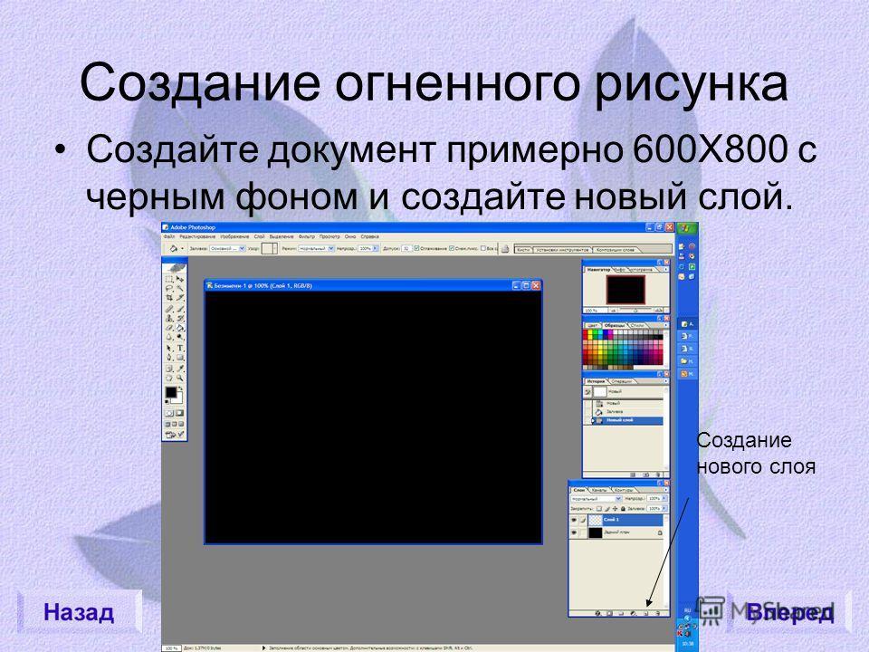 Создание огненного рисунка Создайте документ примерно 600Х800 с черным фоном и создайте новый слой. Создание нового слоя