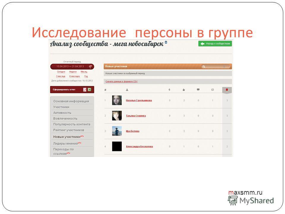 Исследование персоны в группе maxsmm.ru