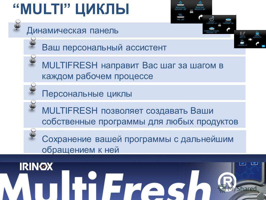 MULTI ЦИКЛЫ Динамическая панель Ваш персональный ассистент MULTIFRESH направит Вас шаг за шагом в каждом рабочем процессе Сохранение вашей программы с дальнейшим обращением к ней Персональные циклы MULTIFRESH позволяет создавать Ваши собственные прог