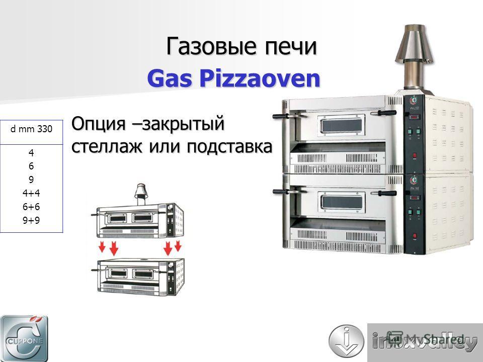 Газовые печи Gas Pizzaoven d mm 330 4 6 9 4+4 6+6 9+9 Опция –закрытый стеллаж или подставка