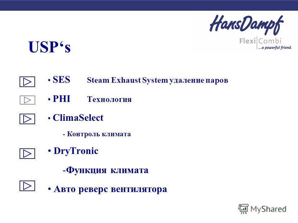 USPs SES Steam Exhaust System удаление паров PHI Технология ClimaSelect - Контроль климата DryTronic -Функция климата Авто реверс вентилятора