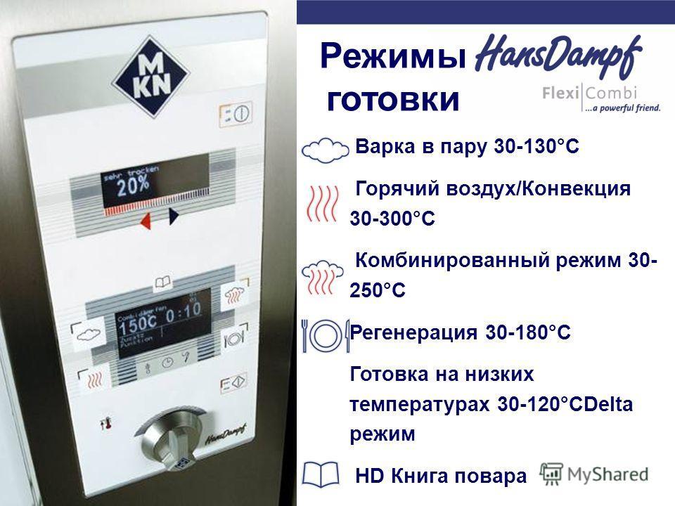 Варка в пару 30-130°C Горячий воздух/Конвекция 30-300°C Комбинированный режим 30- 250°C Регенерация 30-180°C Готовка на низких температурах 30-120°CDeltа режим HD Книга повара Режимы готовки