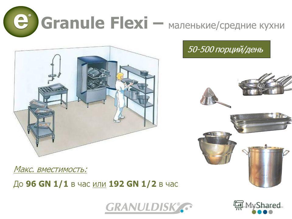 Макс. вместимость: До 96 GN 1/1 в час или 192 GN 1/2 в час Granule Flexi – маленькие/средние кухни 50-500 порций/день