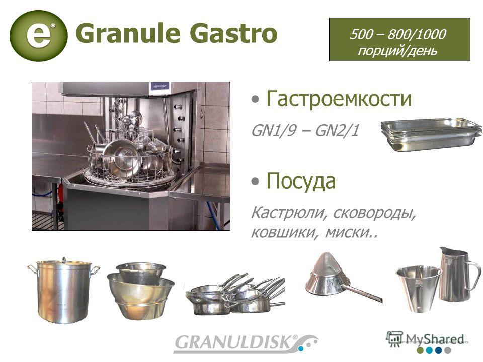 Granule Gastro Гастроемкости GN1/9 – GN2/1 Посуда Кастрюли, сковороды, ковшики, миски.. 500 – 800/1000 порций/день
