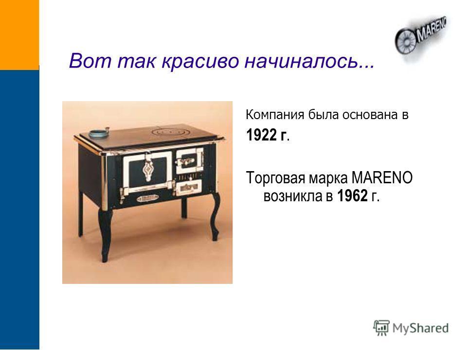 Вот так красиво начиналось... Компания была основана в 1922 г. Торговая марка MARENO возникла в 1962 г.