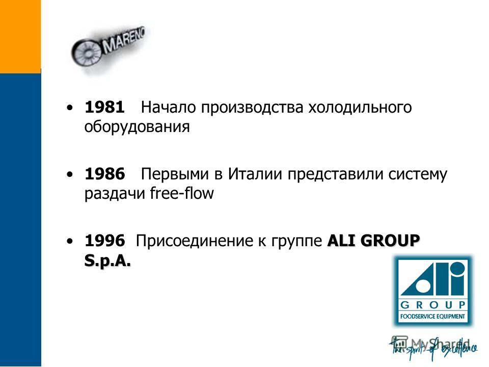 1981 Начало производства холодильного оборудования 1986 Первыми в Италии представили систему раздачи free-flow ALI GROUP S.p.A.1996 Присоединение к группе ALI GROUP S.p.A.