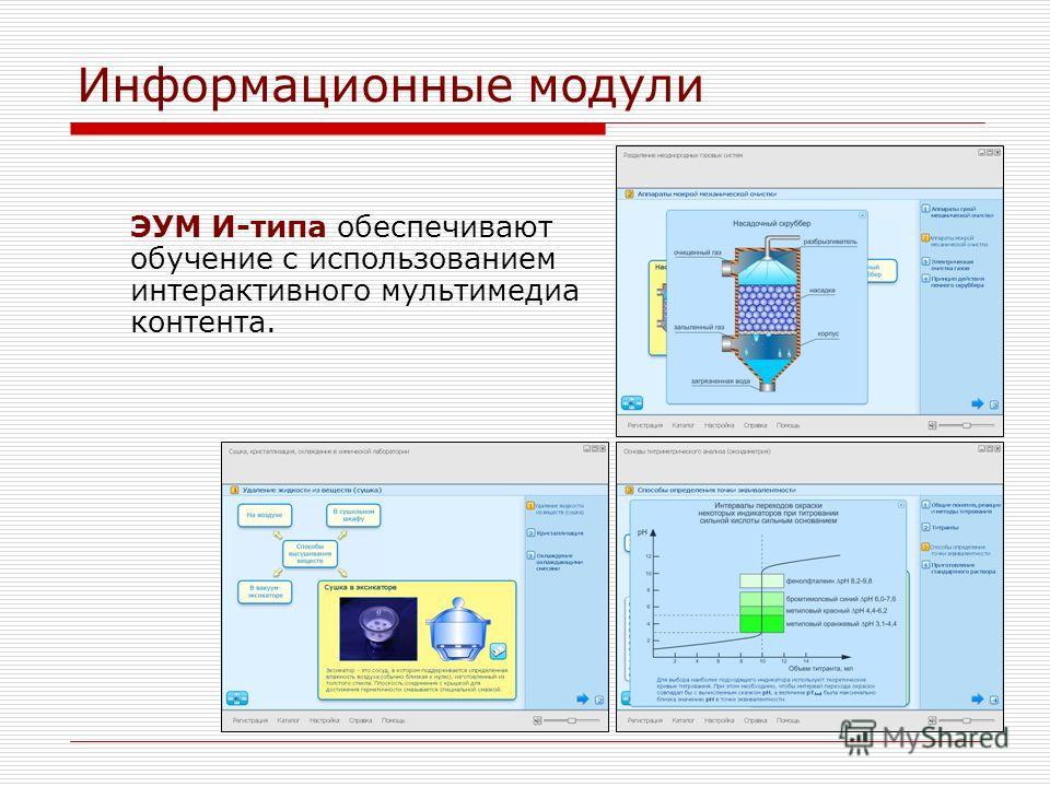 Информационные модули ЭУМ И-типа обеспечивают обучение с использованием интерактивного мультимедиа контента.