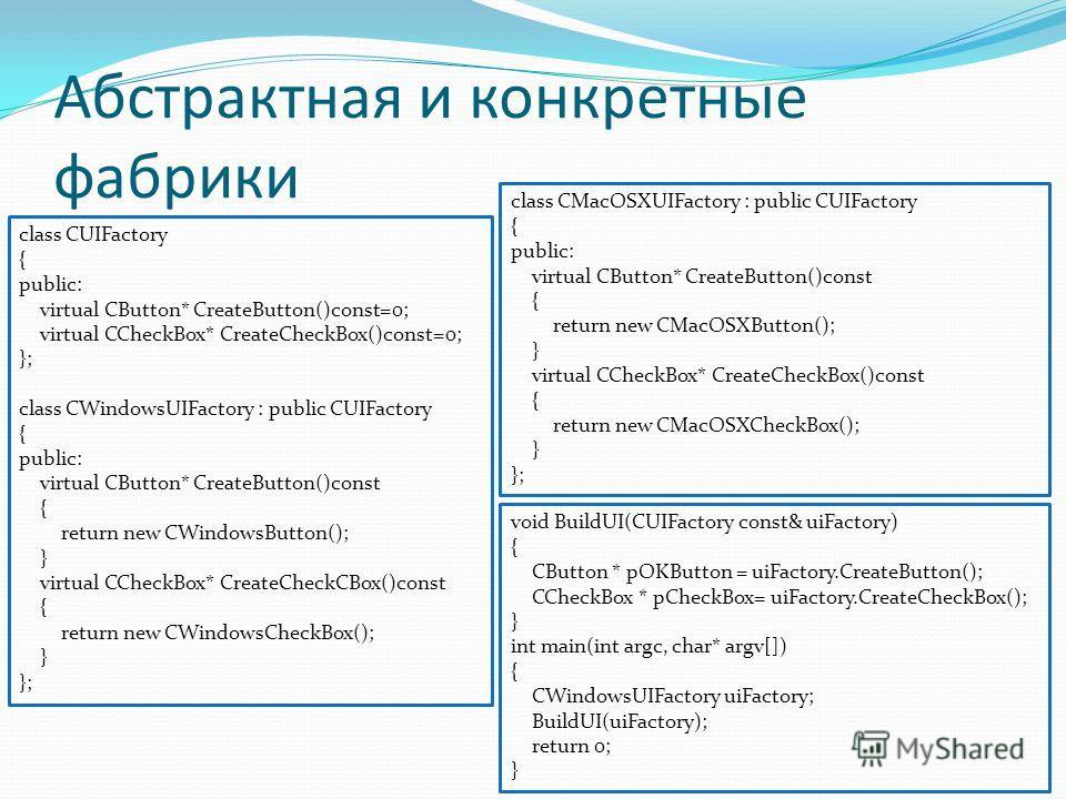 Абстрактная и конкретные фабрики class CUIFactory { public: virtual CButton* CreateButton()const=0; virtual CCheckBox* CreateCheckBox()const=0; }; class CWindowsUIFactory : public CUIFactory { public: virtual CButton* CreateButton()const { return new