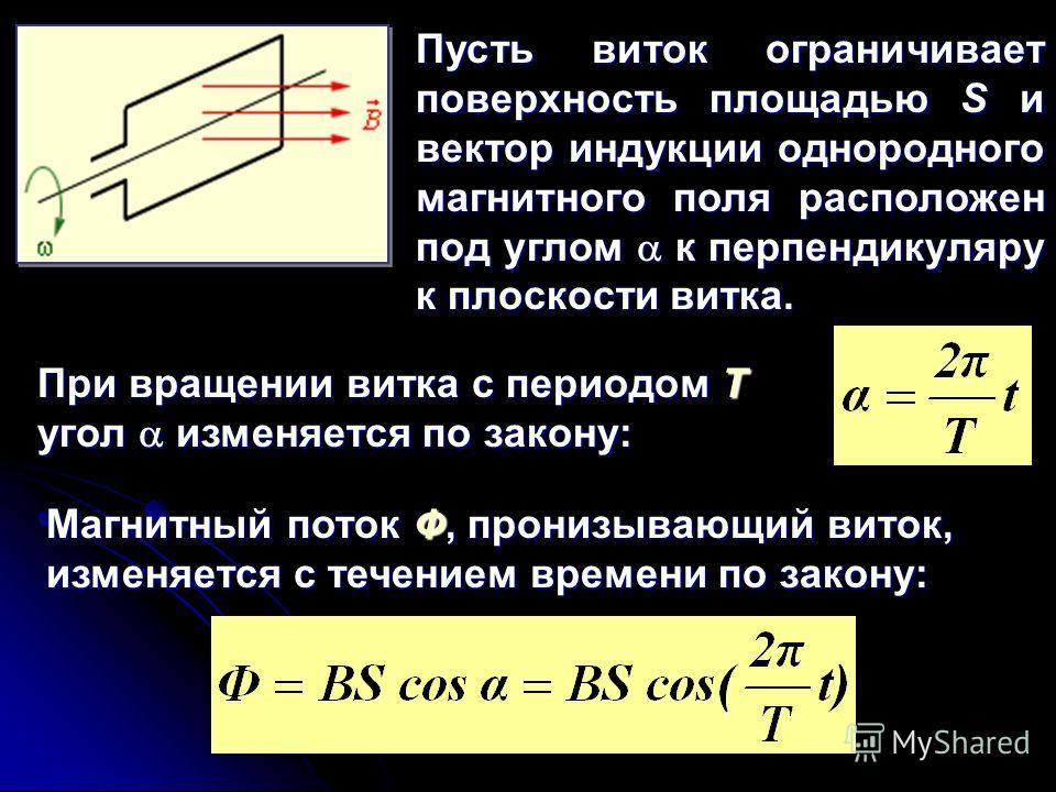 Пусть виток ограничивает поверхность площадью S и вектор индукции однородного магнитного поля расположен под углом к перпендикуляру к плоскости витка. Магнитный поток Ф, пронизывающий виток, изменяется с течением времени по закону: При вращении витка
