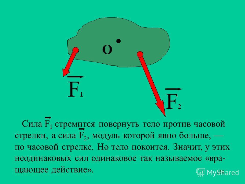 188 F2F2 F1F1 О Сила F 1 стремится повернуть тело против часовой стрелки, а сила F 2, модуль которой явно больше, по часовой стрелке. Но тело покоится. Значит, у этих неодинаковых сил одинаковое так называемое «вра- щающее действие». _ _