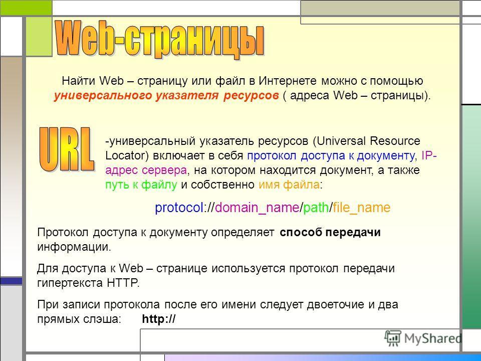 Найти Web – страницу или файл в Интернете можно с помощью универсального указателя ресурсов ( адреса Web – страницы). -универсальный указатель ресурсов (Universal Resource Locator) включает в себя протокол доступа к документу, IP- адрес сервера, на к