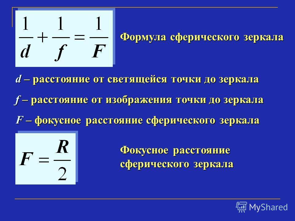 Формула сферического зеркала d – расстояние от светящейся точки до зеркала f – расстояние от изображения точки до зеркала F – фокусное расстояние сферического зеркала Фокусное расстояние сферического зеркала